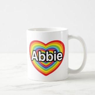 I love Abbie, rainbow heart Classic White Coffee Mug