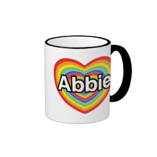 I love Abbie, rainbow heart Ringer Coffee Mug