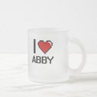 I Love Abby Digital Retro Design 10 Oz Frosted Glass Coffee Mug
