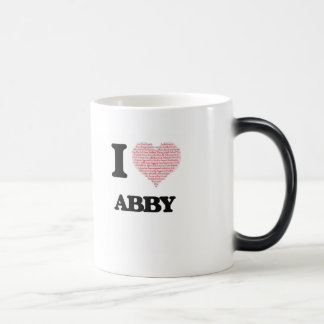 I love Abby (heart made from words) design 11 Oz Magic Heat Color-Changing Coffee Mug
