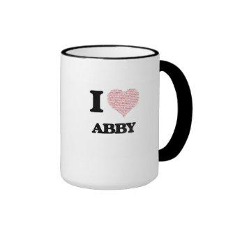I love Abby (heart made from words) design Ringer Coffee Mug
