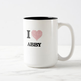 I love Abby (heart made from words) design Two-Tone Coffee Mug