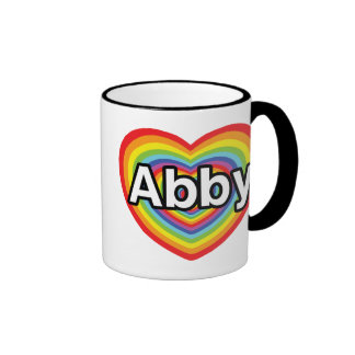 I love Abby, rainbow heart Ringer Coffee Mug
