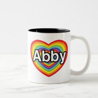 I love Abby, rainbow heart Two-Tone Coffee Mug