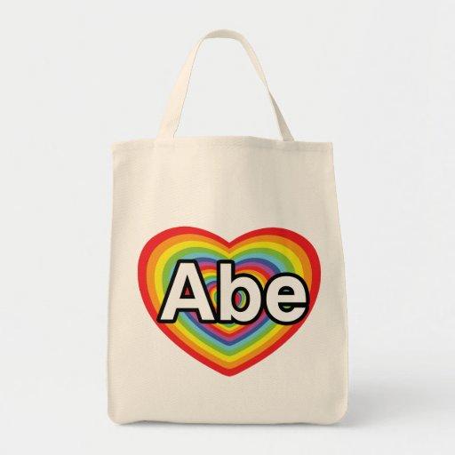 I love Abe, rainbow heart Canvas Bag