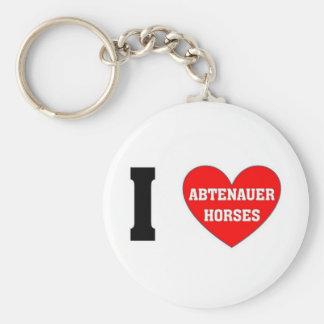 I love abtenauer Horses Basic Round Button Keychain