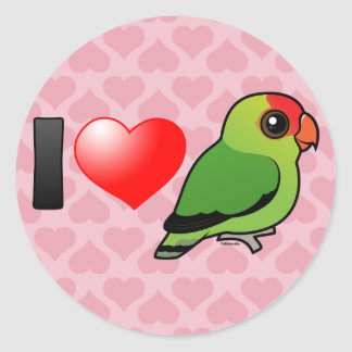 I Love Abyssinian Lovebirds Classic Round Sticker