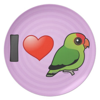 I Love Abyssinian Lovebirds Party Plates