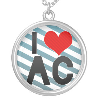 I Love AC Round Pendant Necklace