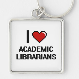 I love Academic Librarians Silver-Colored Square Keychain