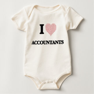 I love Accountants (Heart made from words) Baby Bodysuit