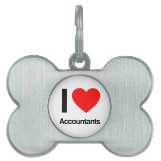 i love accountants pet name tag