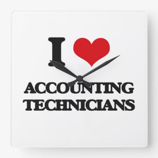 I love Accounting Technicians Square Wallclock