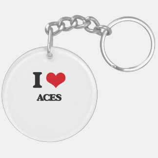 I Love Aces Double-Sided Round Acrylic Keychain
