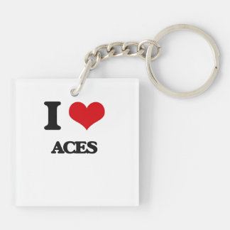 I Love Aces Double-Sided Square Acrylic Keychain
