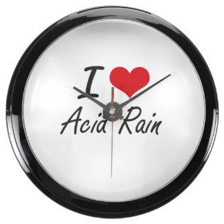 I Love Acid Rain Artistic Design Fish Tank Clocks