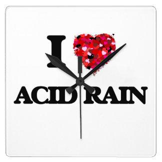 I Love Acid Rain Square Wall Clocks
