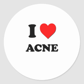 I Love Acne Round Stickers