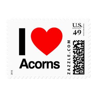 i love acorns postage stamp