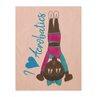 I Love Acro Acrobatics Gymnastics Tumbling Heart Wood Print