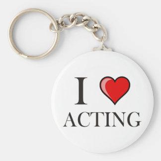 I love Acting Basic Round Button Keychain