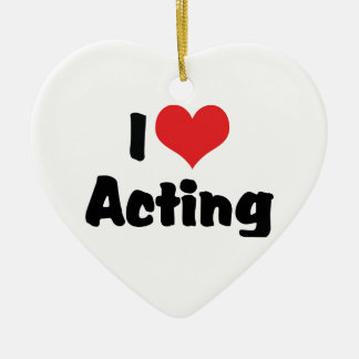 I Love Acting Double-Sided Heart Ceramic Christmas Ornament