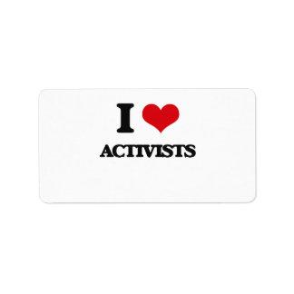 I Love Activists Custom Address Labels