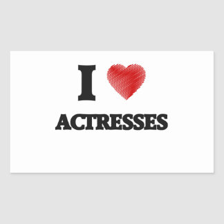 I love Actresses (Heart made from words) Rectangular Sticker