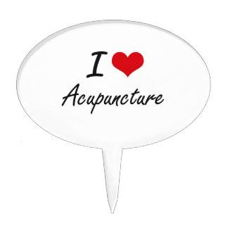 I Love Acupuncture Artistic Design Cake Picks
