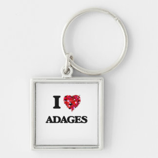 I Love Adages Silver-Colored Square Keychain
