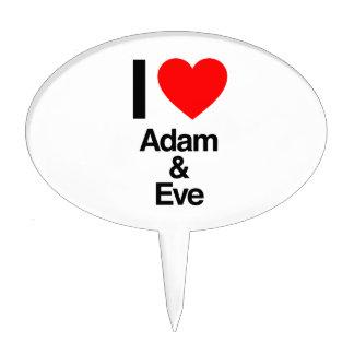 i love adam and eve cake topper
