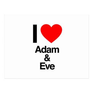 i love adam and eve postcard