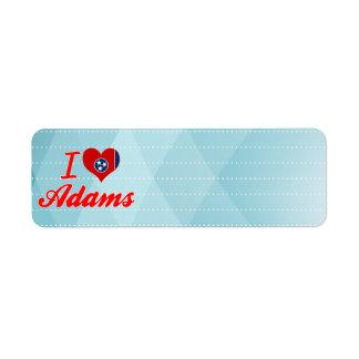 I Love Adams, Tennessee Custom Return Address Labels