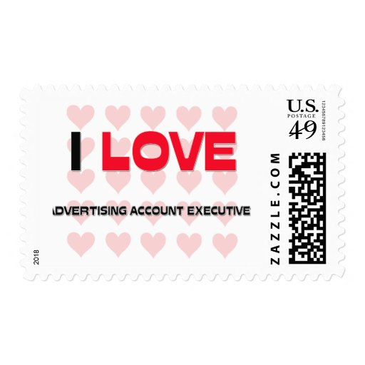 I LOVE ADVERTISING ACCOUNT EXECUTIVES POSTAGE STAMPS