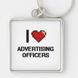 I love Advertising Officers Silver-Colored Square Keychain