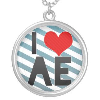 I Love AE Round Pendant Necklace