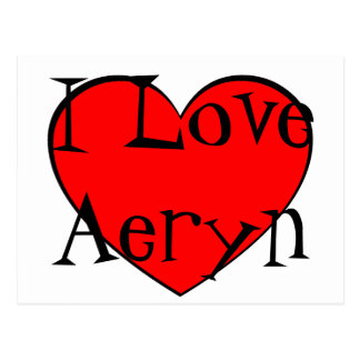 I Love Aeryn Heart Postcard