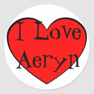 I Love Aeryn Heart Round Stickers