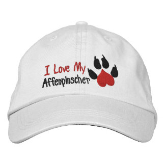 I Love Affenpinscher Dog Paw Print Embroidered Baseball Hat