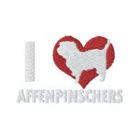 I Love Affenpinschers Embroidered Hooded Sweatshirt