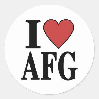 I Love AFG Classic Round Sticker