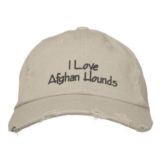I Love Afghan Hounds Embroidered Baseball Cap