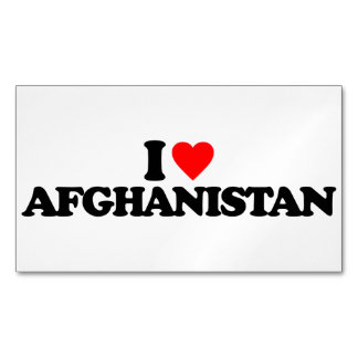 I LOVE AFGHANISTAN BUSINESS CARD MAGNET