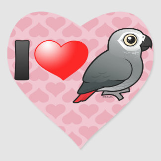I Love Africa Greys Heart Sticker