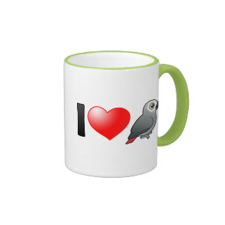 I Love Africa Greys Coffee Mugs