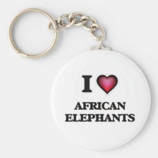 I Love African Elephants Keychain