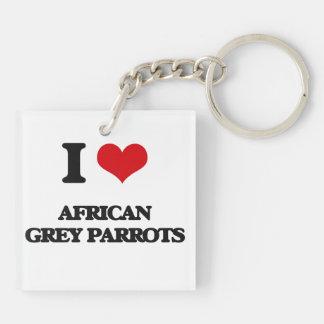 I love African Grey Parrots Acrylic Key Chain