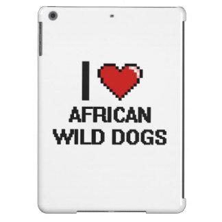 I love African Wild Dogs Digital Design iPad Air Cases
