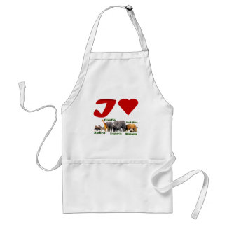 I love African Wildlife Collage II Adult Apron
