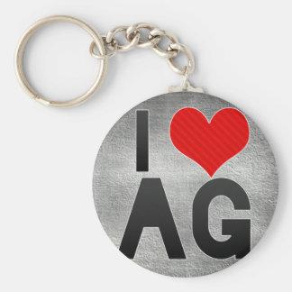 I Love AG Basic Round Button Keychain